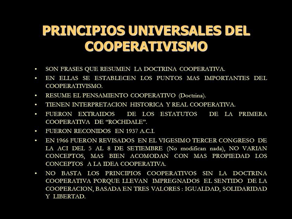 PRINCIPIOS UNIVERSALES DEL COOPERATIVISMO SON FRASES QUE RESUMEN LA DOCTRINA COOPERATIVA. EN ELLAS SE ESTABLECEN LOS PUNTOS MAS IMPORTANTES DEL COOPER