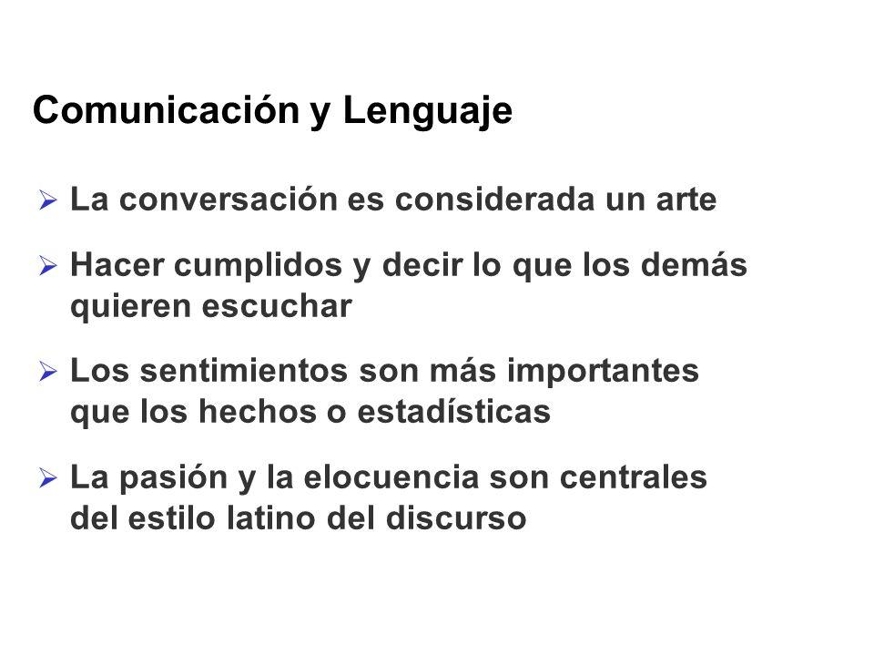 Comunicación y Lenguaje La conversación es considerada un arte Hacer cumplidos y decir lo que los demás quieren escuchar Los sentimientos son más impo