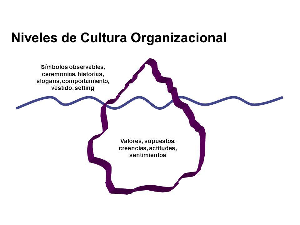 Niveles de Cultura Organizacional Valores, supuestos, creencias, actitudes, sentimientos Símbolos observables, ceremonias, historias, slogans, comport