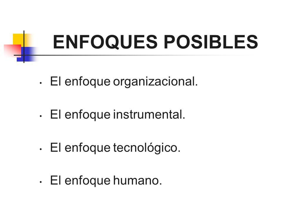 ENFOQUES POSIBLES El enfoque organizacional. El enfoque instrumental. El enfoque tecnológico. El enfoque humano.