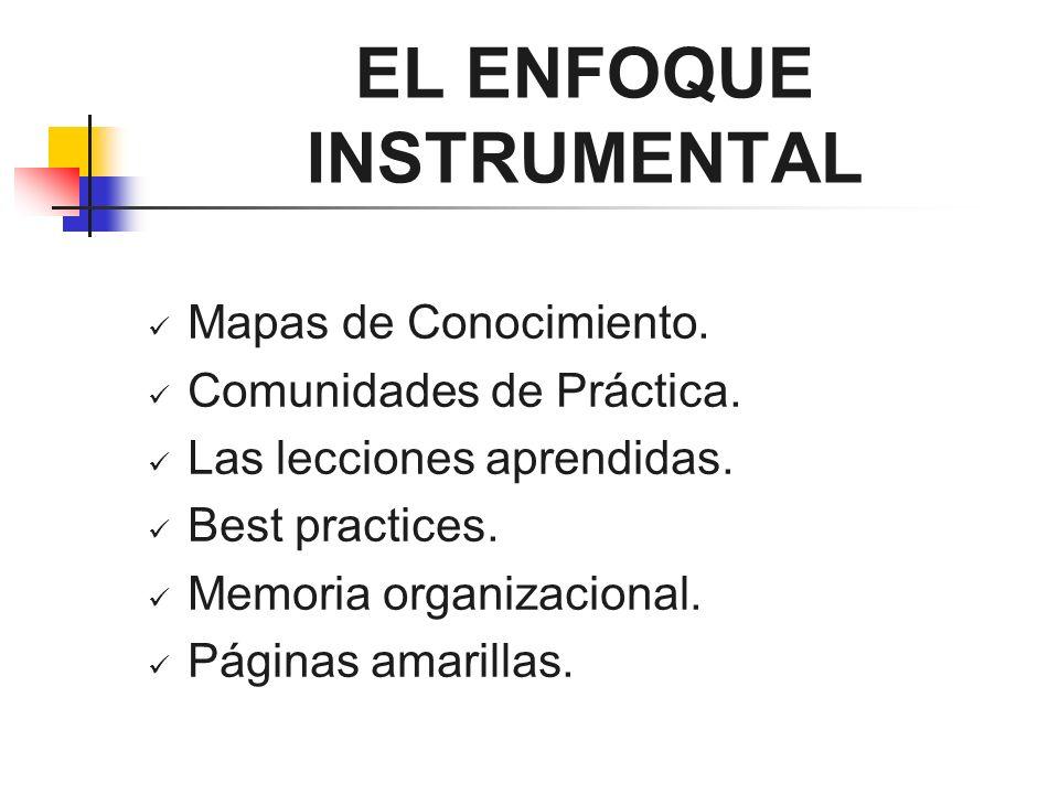 EL ENFOQUE INSTRUMENTAL Mapas de Conocimiento. Comunidades de Práctica. Las lecciones aprendidas. Best practices. Memoria organizacional. Páginas amar