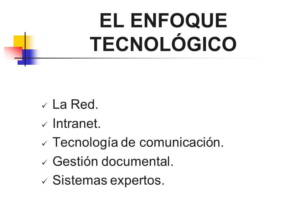 EL ENFOQUE TECNOLÓGICO La Red. Intranet. Tecnología de comunicación. Gestión documental. Sistemas expertos.