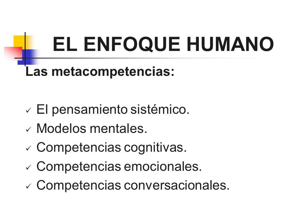 EL ENFOQUE HUMANO Las metacompetencias: El pensamiento sistémico. Modelos mentales. Competencias cognitivas. Competencias emocionales. Competencias co