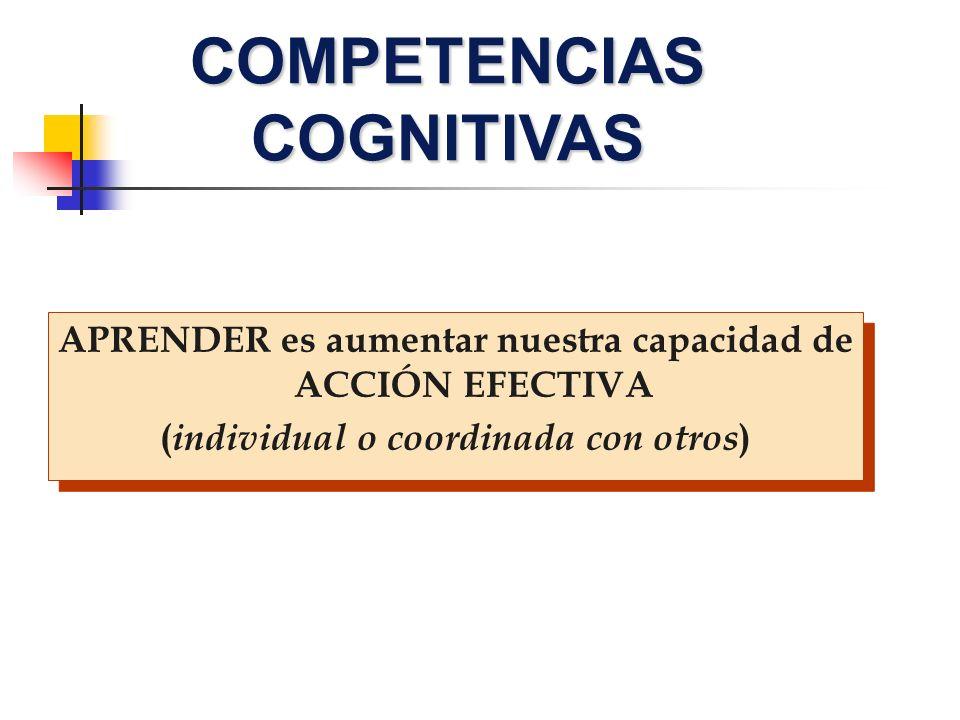 COMPETENCIAS COGNITIVAS APRENDER es aumentar nuestra capacidad de ACCIÓN EFECTIVA ( individual o coordinada con otros ) APRENDER es aumentar nuestra c