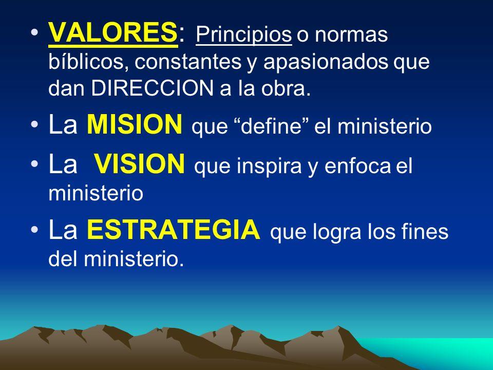 VALORES: Principios o normas bíblicos, constantes y apasionados que dan DIRECCION a la obra. La MISION que define el ministerio La VISION que inspira