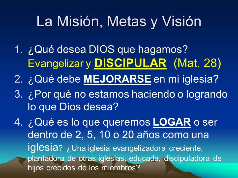 La Misión, Metas y Visión 1.¿Qué desea DIOS que hagamos? Evangelizar y DISCIPULAR (Mat. 28) 2.¿Qué debe MEJORARSE en mi iglesia? 3.¿Por qué no estamos
