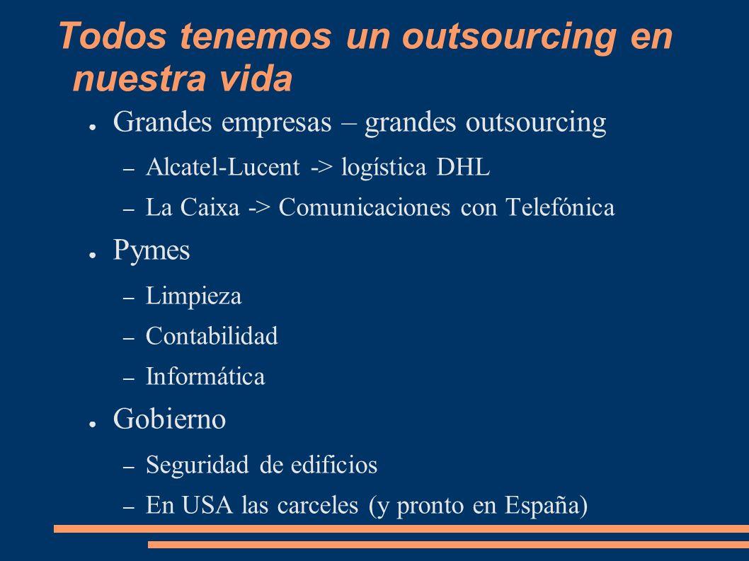 Todos tenemos un outsourcing en nuestra vida Grandes empresas – grandes outsourcing – Alcatel-Lucent -> logística DHL – La Caixa -> Comunicaciones con Telefónica Pymes – Limpieza – Contabilidad – Informática Gobierno – Seguridad de edificios – En USA las carceles (y pronto en España)