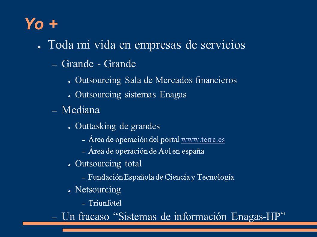 Yo + Toda mi vida en empresas de servicios – Grande - Grande Outsourcing Sala de Mercados financieros Outsourcing sistemas Enagas – Mediana Outtasking de grandes – Área de operación del portal www.terra.eswww.terra.es – Área de operación de Aol en españa Outsourcing total – Fundación Española de Ciencia y Tecnología Netsourcing – Triunfotel – Un fracaso Sistemas de información Enagas-HP