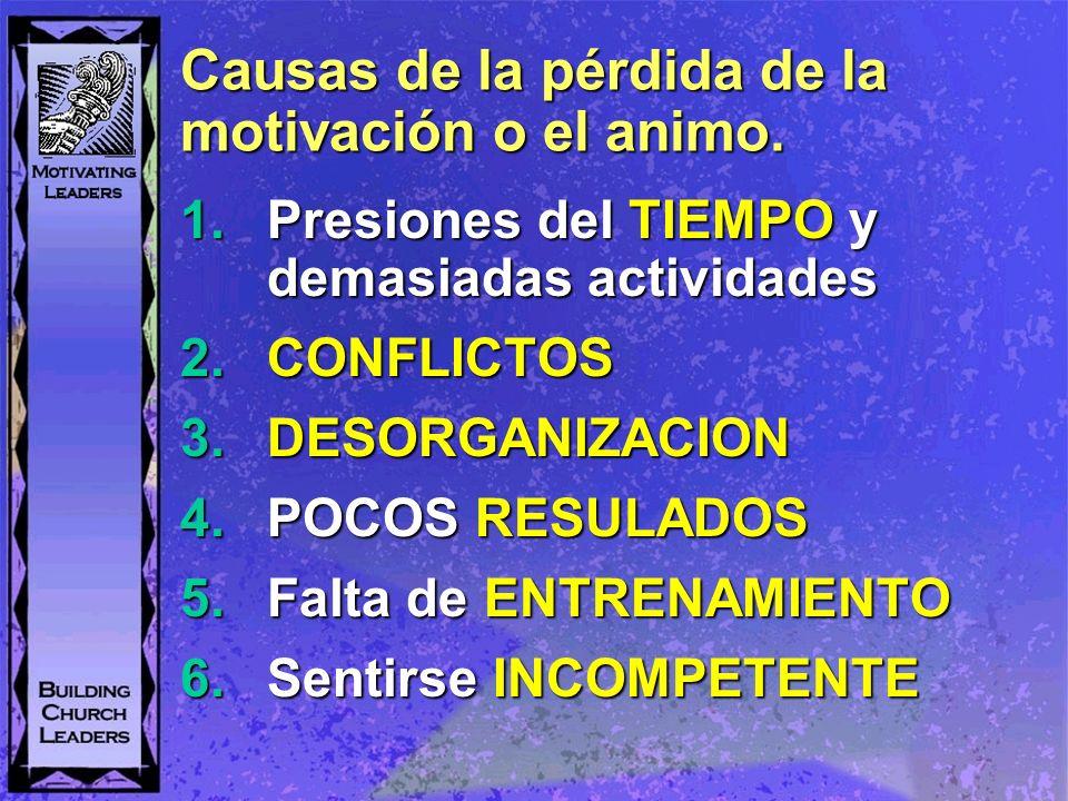Causas de la pérdida de la motivación o el animo. 1.Presiones del TIEMPO y demasiadas actividades 2.CONFLICTOS 3.DESORGANIZACION 4.POCOS RESULADOS 5.F