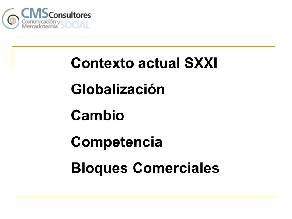 Contexto actual SXXI Globalización Cambio Competencia Bloques Comerciales
