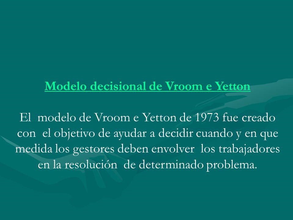 Modelo decisional de Vroom e Yetton El modelo de Vroom e Yetton de 1973 fue creado con el objetivo de ayudar a decidir cuando y en que medida los gest