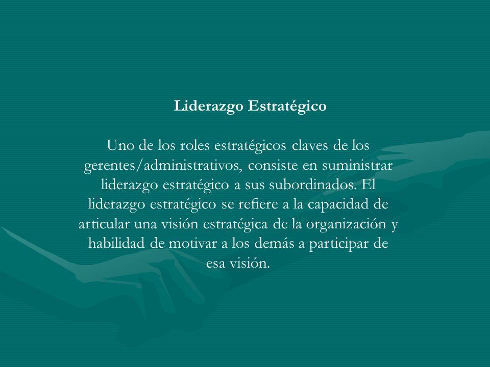 Liderazgo Estratégico Uno de los roles estratégicos claves de los gerentes/administrativos, consiste en suministrar liderazgo estratégico a sus subord