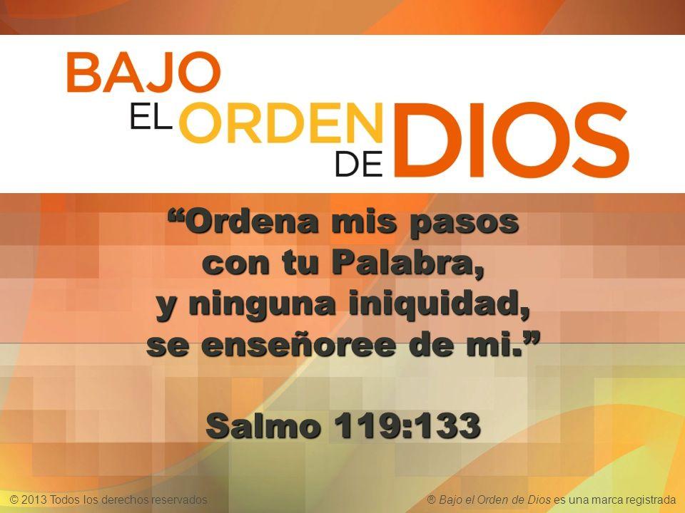 © 2013 Todos los derechos reservados ® Bajo el Orden de Dios es una marca registrada Ordena mis pasos con tu Palabra, y ninguna iniquidad, se enseñore