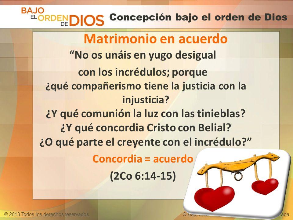 © 2013 Todos los derechos reservados ® Bajo el Orden de Dios es una marca registrada Concepción bajo el orden de Dios No os unáis en yugo desigual con