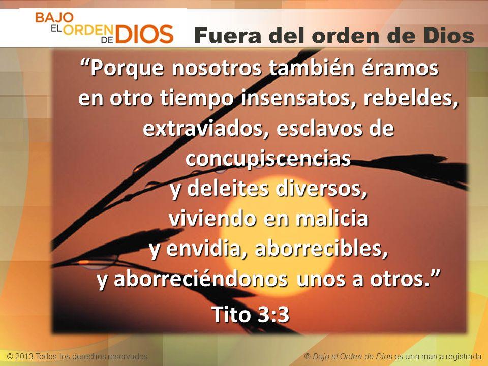© 2013 Todos los derechos reservados ® Bajo el Orden de Dios es una marca registrada ¿Has tenido relaciones sexuales fuera del orden de Dios.