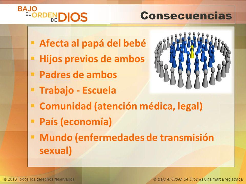 © 2013 Todos los derechos reservados ® Bajo el Orden de Dios es una marca registrada Consecuencias Afecta al papá del bebé Hijos previos de ambos Padr