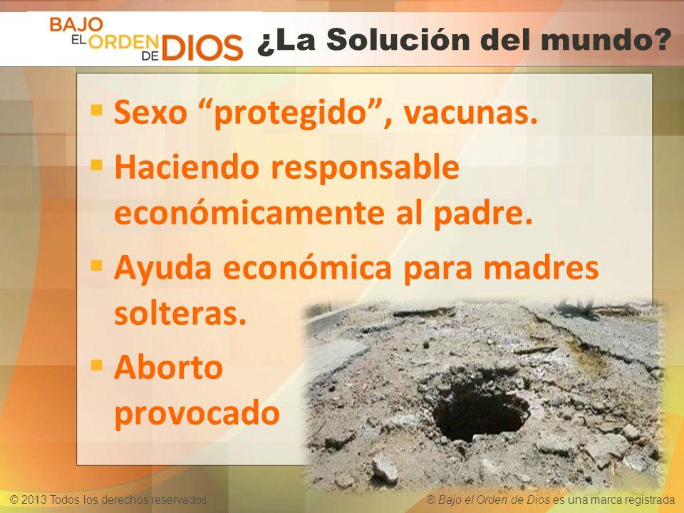 © 2013 Todos los derechos reservados ® Bajo el Orden de Dios es una marca registrada Sexo protegido, vacunas. Haciendo responsable económicamente al p