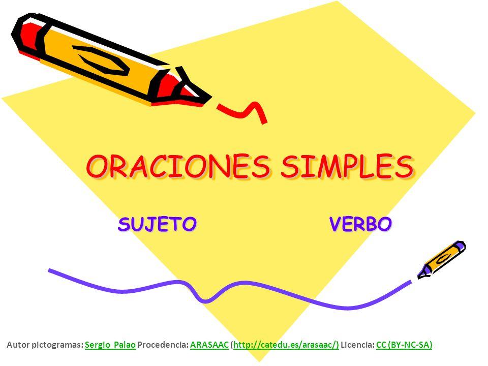 ORACIONES SIMPLES SUJETO VERBO Autor pictogramas: Sergio Palao Procedencia: ARASAAC (http://catedu.es/arasaac/) Licencia: CC (BY-NC-SA)Sergio PalaoARA