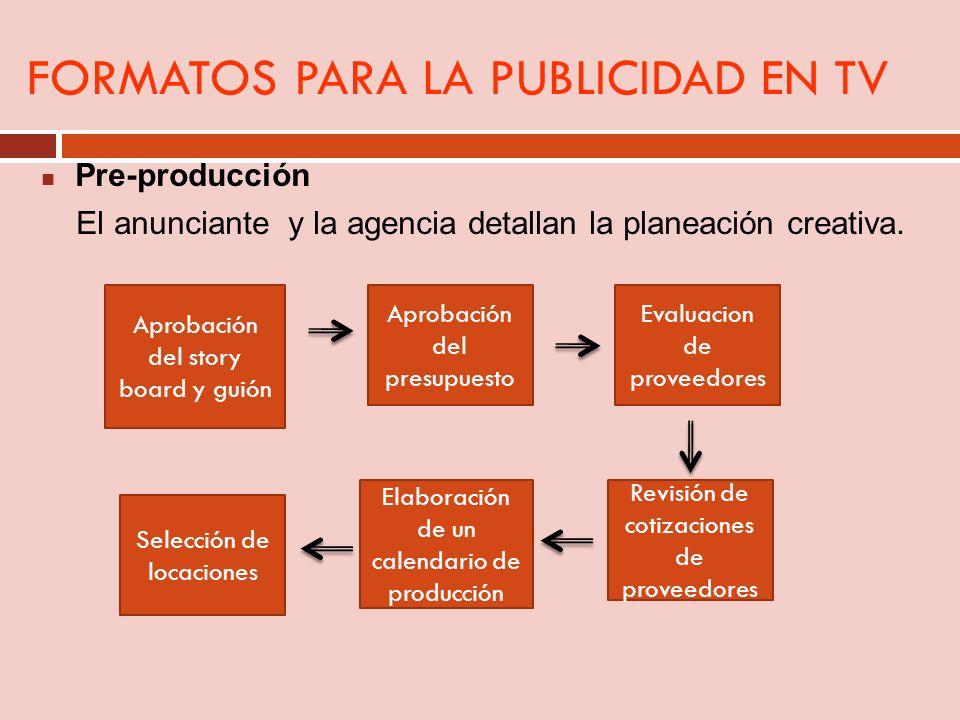 FORMATOS PARA LA PUBLICIDAD EN TV Pre-producción El anunciante y la agencia detallan la planeación creativa. Aprobación del story board y guión Aproba