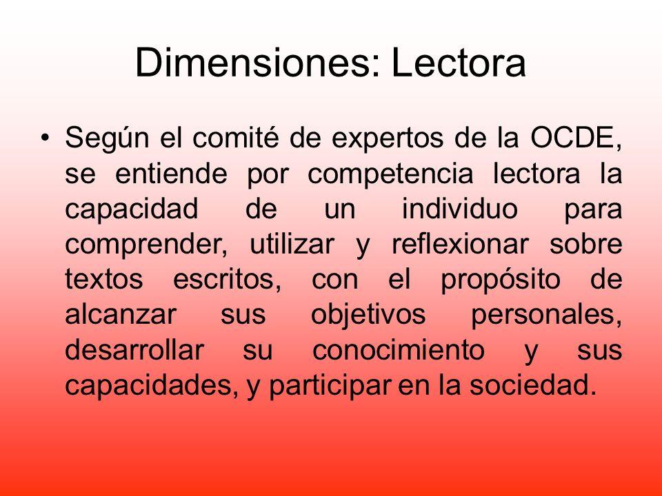 Dimensiones: Lectora Según el comité de expertos de la OCDE, se entiende por competencia lectora la capacidad de un individuo para comprender, utiliza