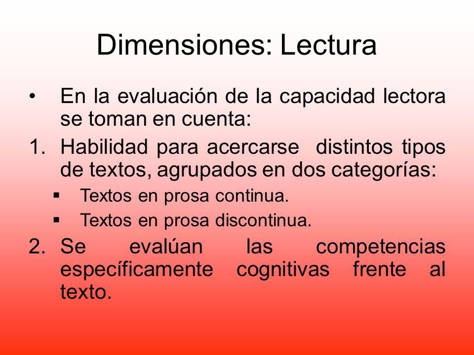 Dimensiones: Lectura En la evaluación de la capacidad lectora se toman en cuenta: 1.Habilidad para acercarse distintos tipos de textos, agrupados en d