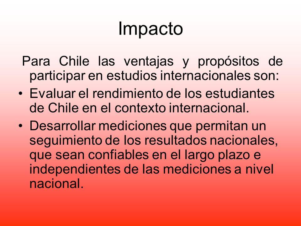 Impacto Para Chile las ventajas y propósitos de participar en estudios internacionales son: Evaluar el rendimiento de los estudiantes de Chile en el c