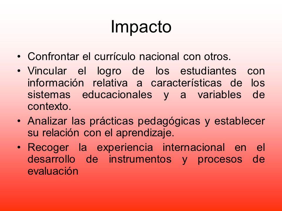 Impacto Confrontar el currículo nacional con otros. Vincular el logro de los estudiantes con información relativa a características de los sistemas ed