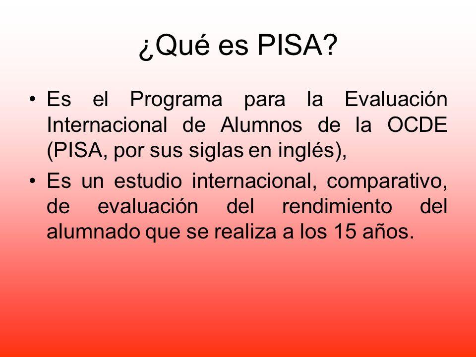 ¿Qué es PISA? Es el Programa para la Evaluación Internacional de Alumnos de la OCDE (PISA, por sus siglas en inglés), Es un estudio internacional, com