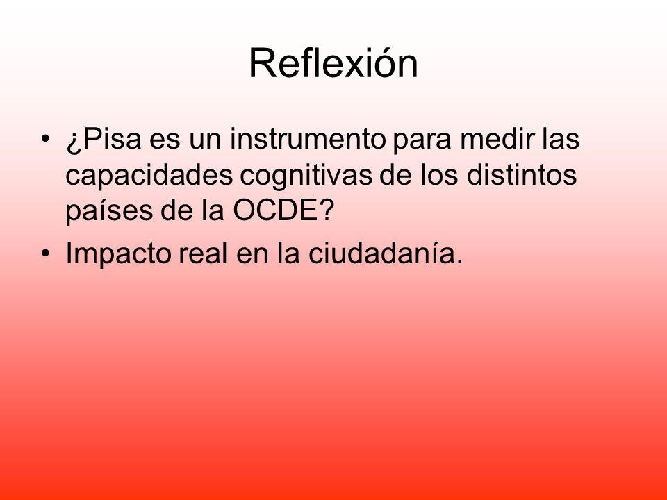 Reflexión ¿Pisa es un instrumento para medir las capacidades cognitivas de los distintos países de la OCDE? Impacto real en la ciudadanía.