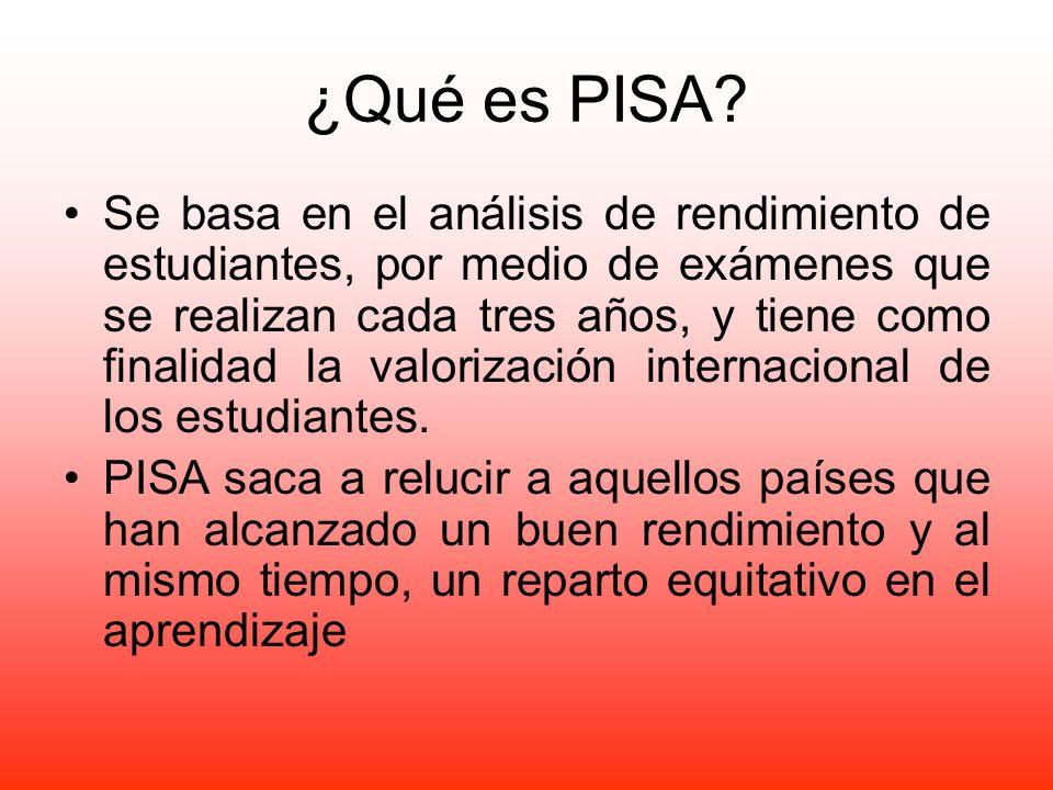 ¿Qué es PISA? Se basa en el análisis de rendimiento de estudiantes, por medio de exámenes que se realizan cada tres años, y tiene como finalidad la va
