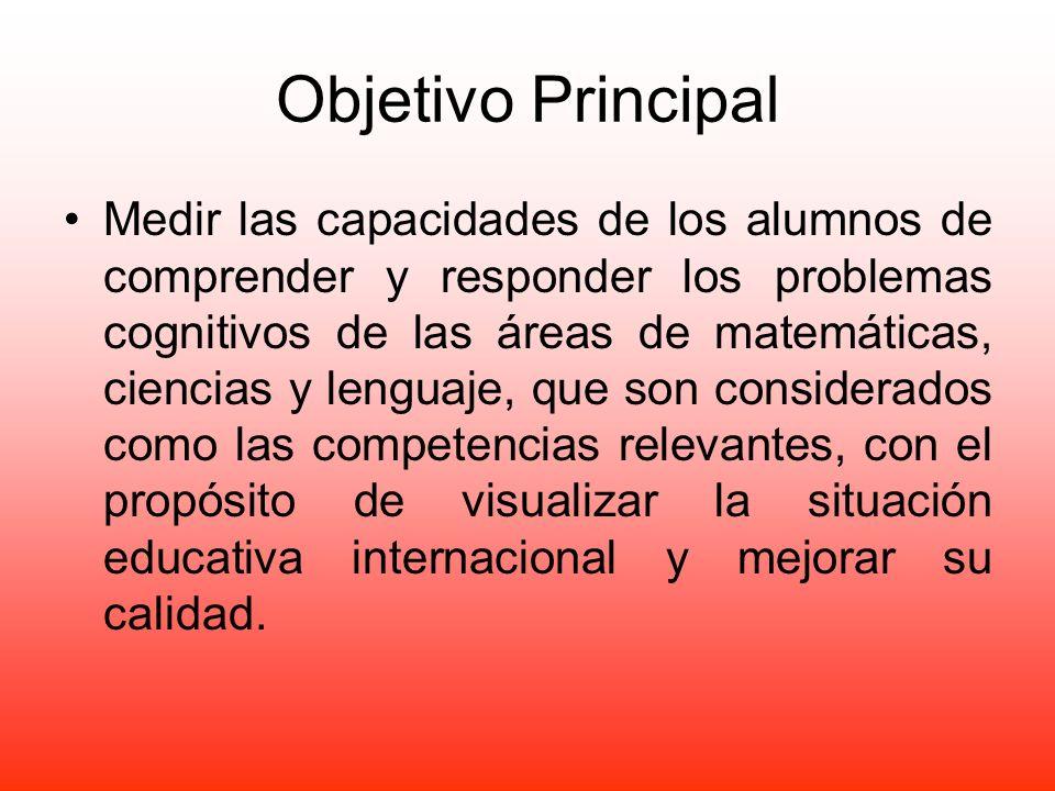 Objetivo Principal Medir las capacidades de los alumnos de comprender y responder los problemas cognitivos de las áreas de matemáticas, ciencias y len