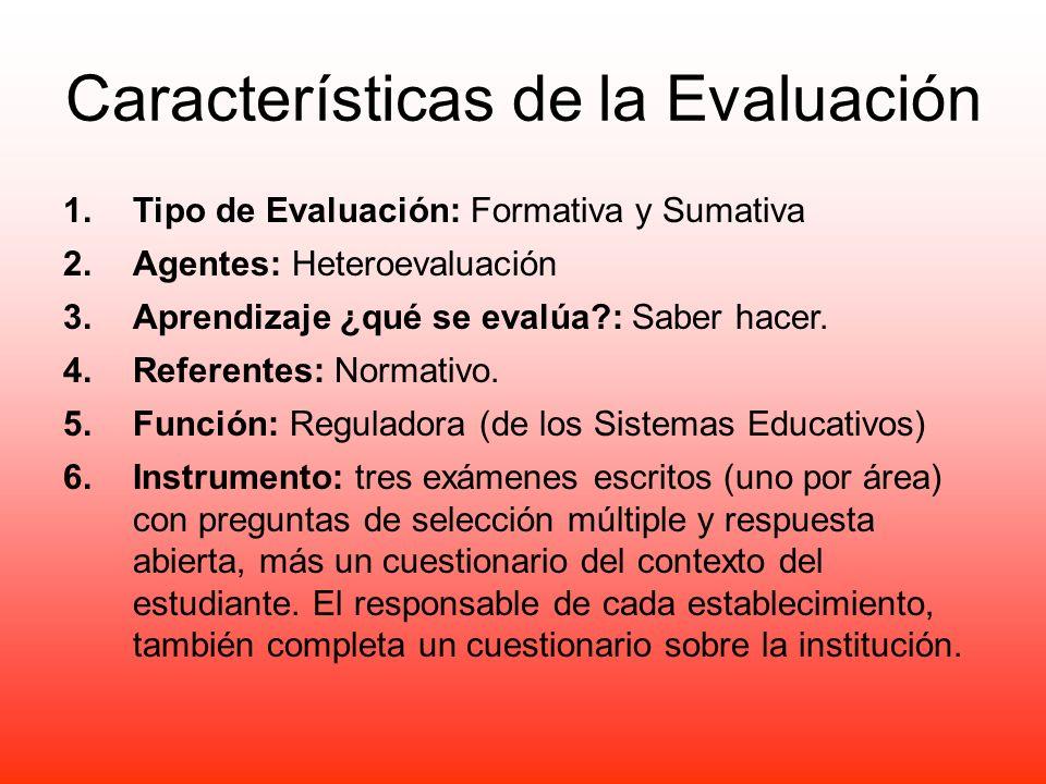 Características de la Evaluación 1.Tipo de Evaluación: Formativa y Sumativa 2.Agentes: Heteroevaluación 3.Aprendizaje ¿qué se evalúa?: Saber hacer. 4.