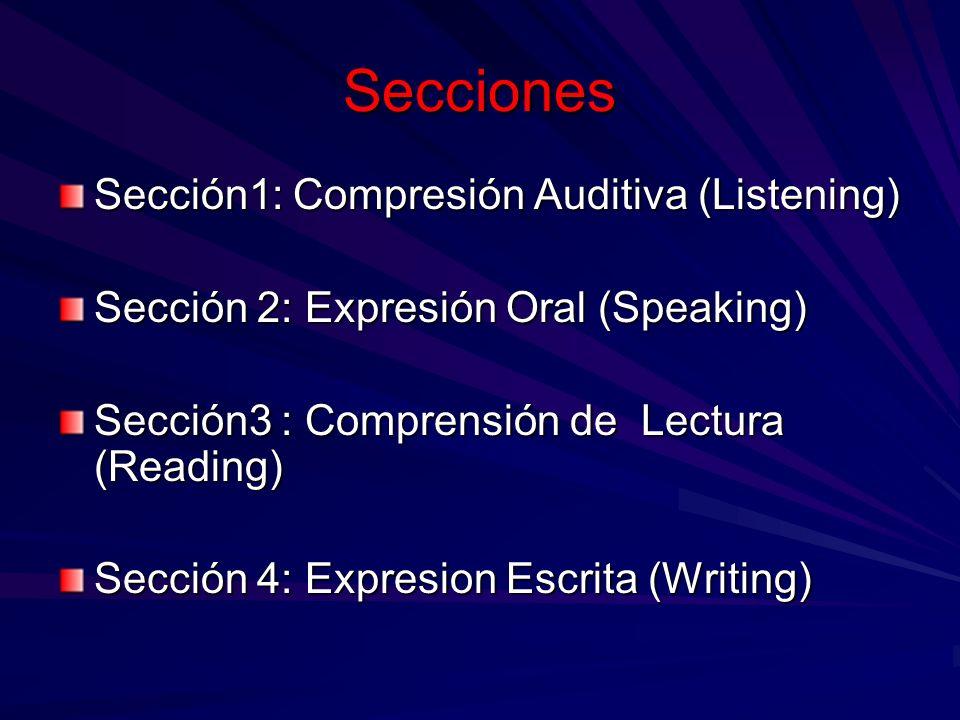 Secciones Sección1: Compresión Auditiva (Listening) Sección 2: Expresión Oral (Speaking) Sección3 : Comprensión de Lectura (Reading) Sección 4: Expres