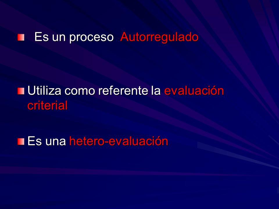 Es un proceso Autorregulado Es un proceso Autorregulado Utiliza como referente la evaluación criterial Es una hetero-evaluación