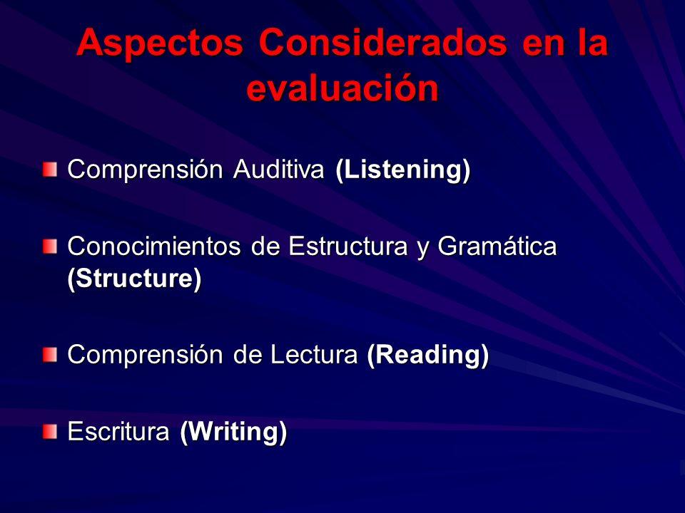 Aspectos Considerados en la evaluación Comprensión Auditiva (Listening) Conocimientos de Estructura y Gramática (Structure) Comprensión de Lectura (Re