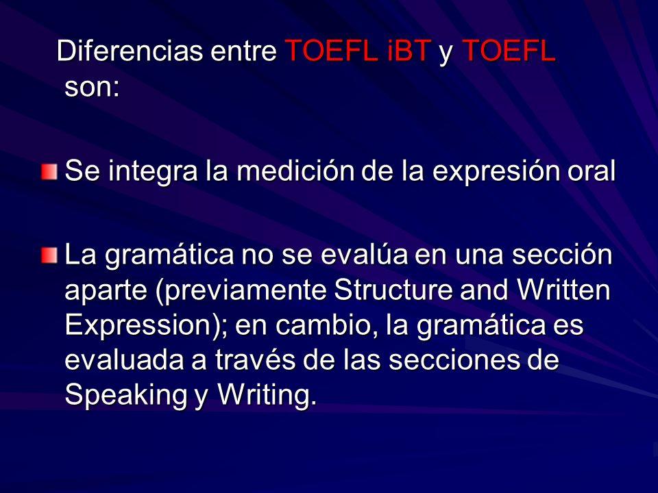 Diferencias entre TOEFL iBT y TOEFL son: Diferencias entre TOEFL iBT y TOEFL son: Se integra la medición de la expresión oral La gramática no se evalú