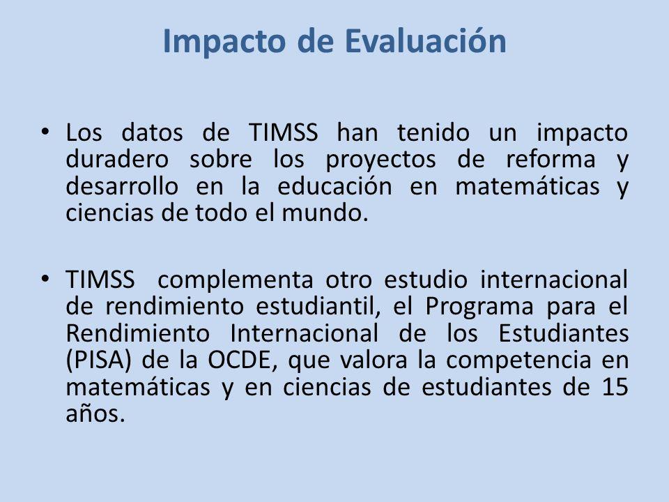 Impacto de Evaluación Los datos de TIMSS han tenido un impacto duradero sobre los proyectos de reforma y desarrollo en la educación en matemáticas y ciencias de todo el mundo.