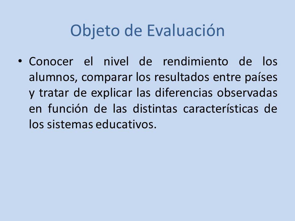 Objeto de Evaluación Conocer el nivel de rendimiento de los alumnos, comparar los resultados entre países y tratar de explicar las diferencias observadas en función de las distintas características de los sistemas educativos.