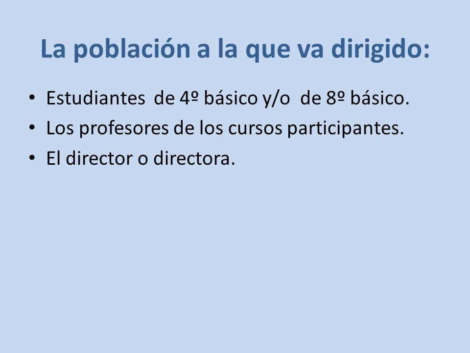 La población a la que va dirigido: Estudiantes de 4º básico y/o de 8º básico.