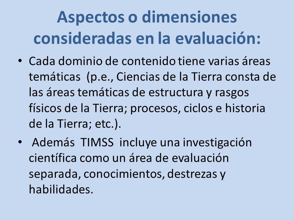 Aspectos o dimensiones consideradas en la evaluación: Cada dominio de contenido tiene varias áreas temáticas (p.e., Ciencias de la Tierra consta de las áreas temáticas de estructura y rasgos físicos de la Tierra; procesos, ciclos e historia de la Tierra; etc.).