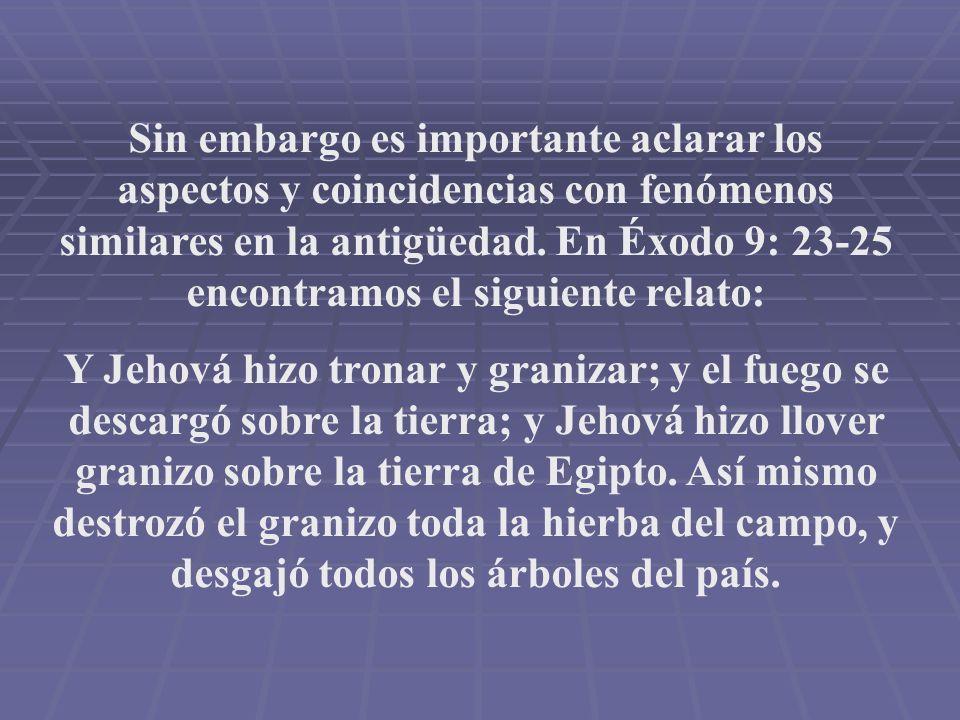 Sin embargo es importante aclarar los aspectos y coincidencias con fenómenos similares en la antigüedad. En Éxodo 9: 23-25 encontramos el siguiente re