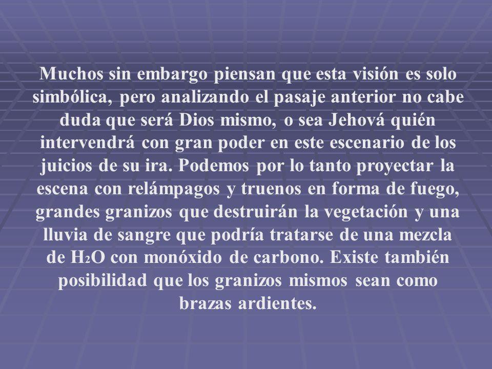 Muchos sin embargo piensan que esta visión es solo simbólica, pero analizando el pasaje anterior no cabe duda que será Dios mismo, o sea Jehová quién