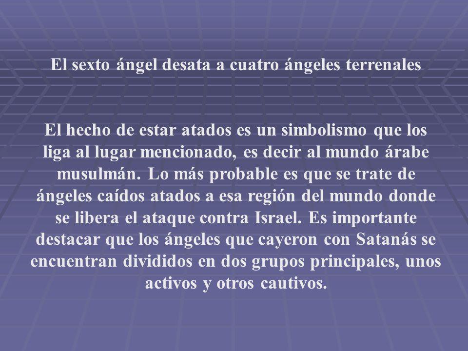 El sexto ángel desata a cuatro ángeles terrenales El hecho de estar atados es un simbolismo que los liga al lugar mencionado, es decir al mundo árabe musulmán.