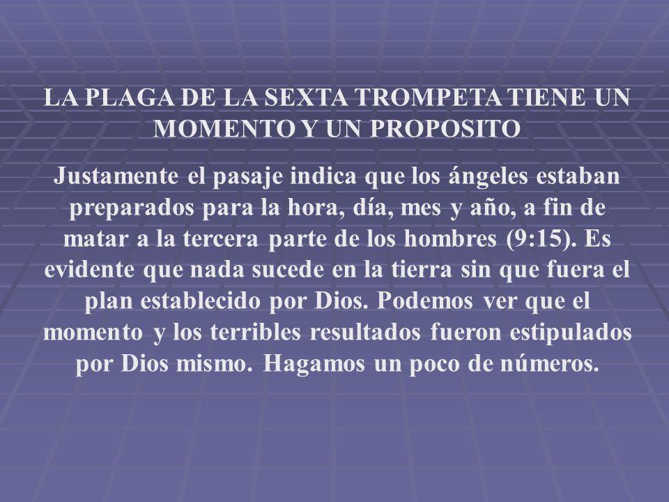 LA PLAGA DE LA SEXTA TROMPETA TIENE UN MOMENTO Y UN PROPOSITO Justamente el pasaje indica que los ángeles estaban preparados para la hora, día, mes y