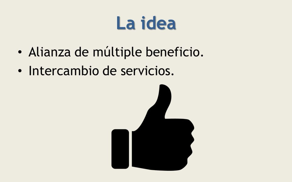 La idea Alianza de múltiple beneficio. Intercambio de servicios.