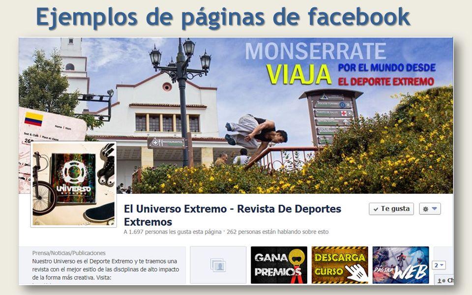 Ejemplos de páginas de facebook