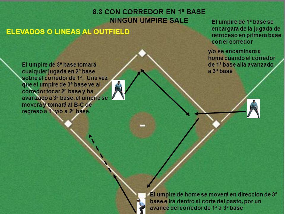 8.7 CORREDOR EN 1ª Y 3ª BASE NINGUN UMPIRE SALE BOLAS BATEADAS CON 2 OUTS El umpire de home permanecerá en su zona y será responsable por todas las jugadas en home El umpire de 1ª base se moverá al infield y será responsable de jugadas sobre el B-C en 1ª y 2ª base El umpire de 3ª base será responsable por jugadas sobre el corredor de 1ª base en 2ª y 3ª base y con el B-C 3ª base