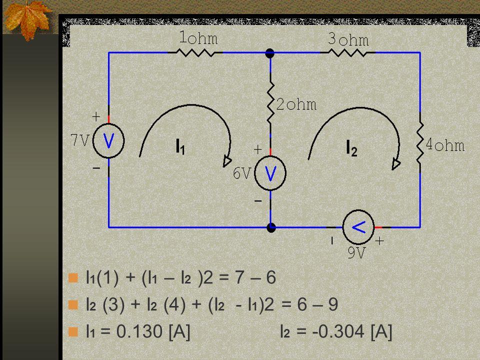 I 1 (1) + (I 1 – I 2 )2 = 7 – 6 I 2 (3) + I 2 (4) + (I 2 - I 1 )2 = 6 – 9 I 1 = 0.130 [A] I 2 = -0.304 [A]
