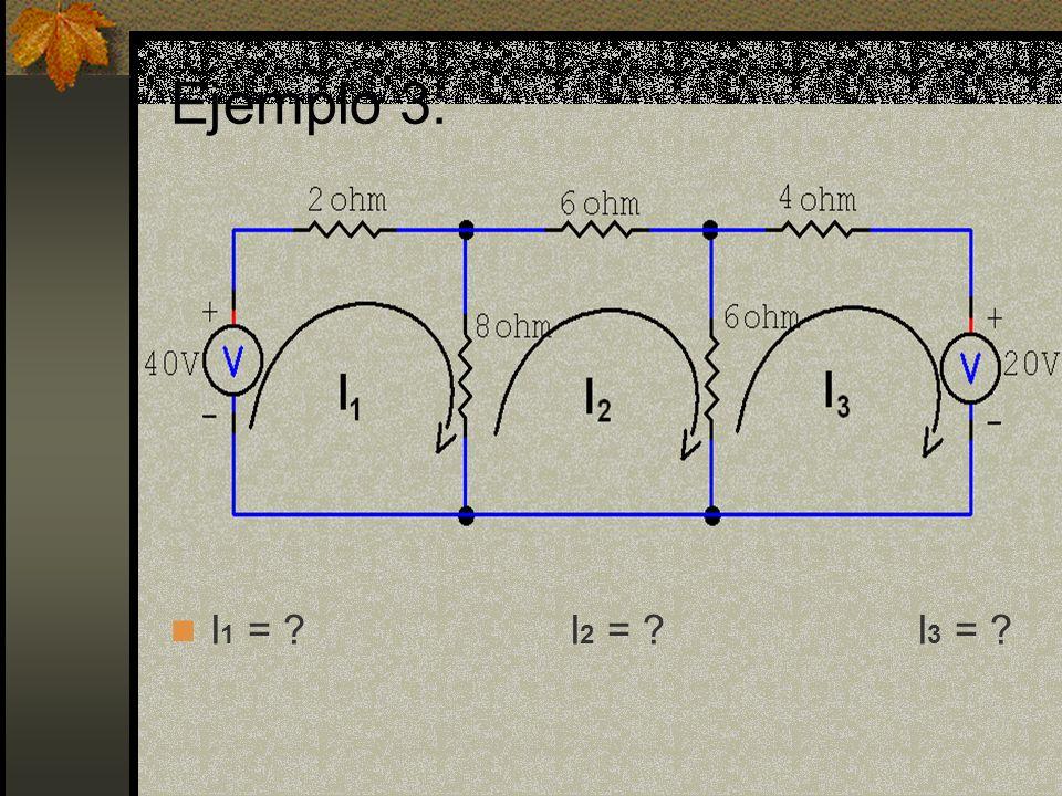 Ejemplo 3: I 1 = I 2 = I 3 =