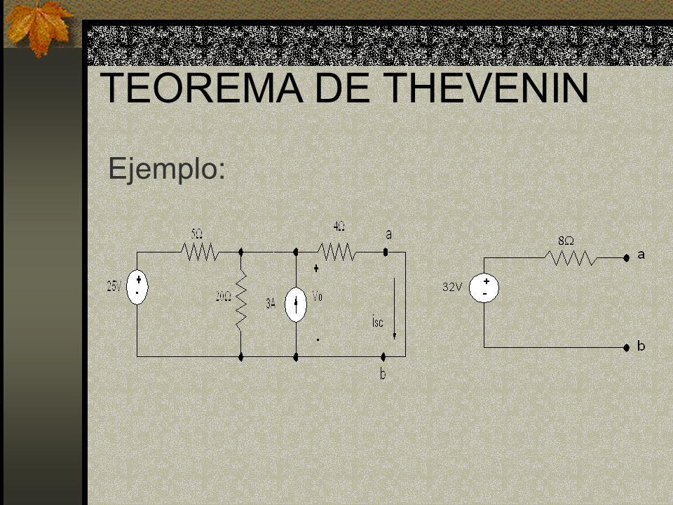 TEOREMA DE THEVENIN Ejemplo: